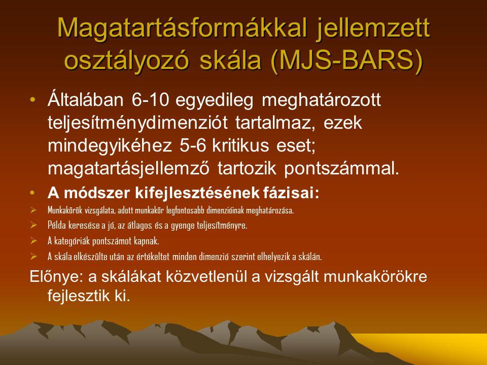 Magatartásformákkal jellemzett osztályozó skála (MJS-BARS) Általában 6-10 egyedileg meghatározott teljesítménydimenziót tartalmaz, ezek mindegyikéhez