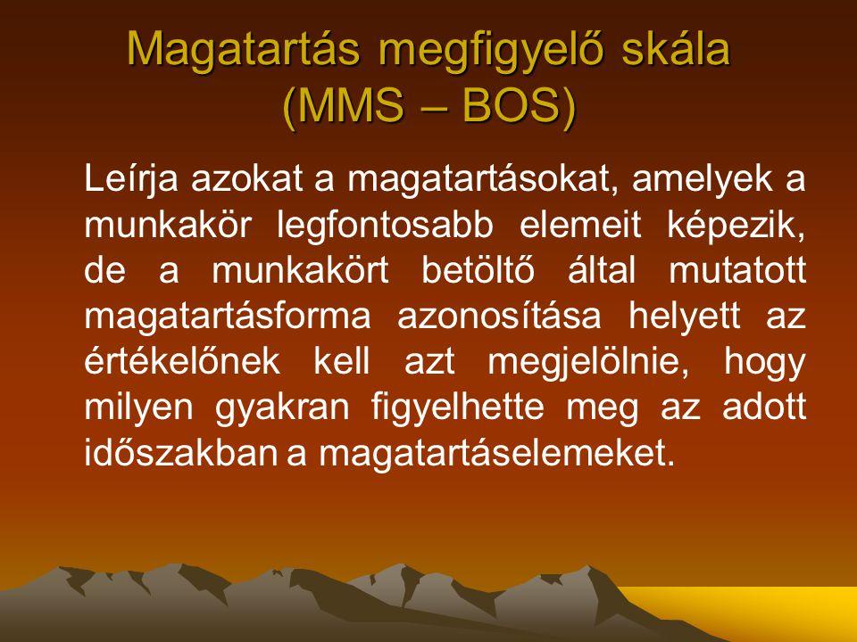 Magatartás megfigyelő skála (MMS – BOS) Leírja azokat a magatartásokat, amelyek a munkakör legfontosabb elemeit képezik, de a munkakört betöltő által