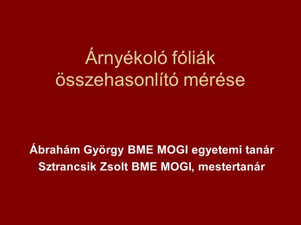 Árnyékoló fóliák összehasonlító mérése Ábrahám György BME MOGI egyetemi tanár Sztrancsik Zsolt BME MOGI, mestertanár