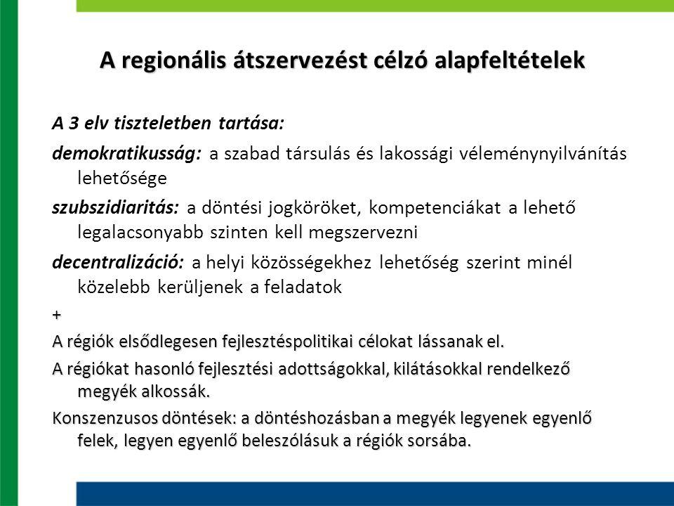 A regionális átszervezést célzó alapfeltételek A 3 elv tiszteletben tartása: demokratikusság: a szabad társulás és lakossági véleménynyilvánítás lehetősége szubszidiaritás: a döntési jogköröket, kompetenciákat a lehető legalacsonyabb szinten kell megszervezni decentralizáció: a helyi közösségekhez lehetőség szerint minél közelebb kerüljenek a feladatok+ A régiók elsődlegesen fejlesztéspolitikai célokat lássanak el.