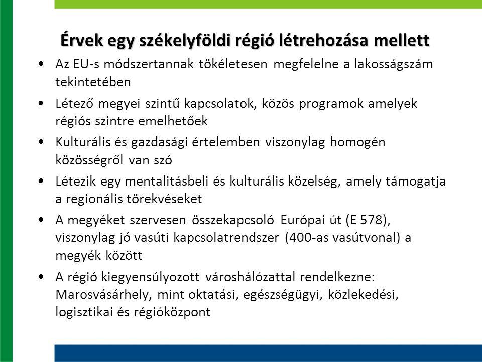 Érvek egy székelyföldi régió létrehozása mellett Az EU-s módszertannak tökéletesen megfelelne a lakosságszám tekintetében Létező megyei szintű kapcsolatok, közös programok amelyek régiós szintre emelhetőek Kulturális és gazdasági értelemben viszonylag homogén közösségről van szó Létezik egy mentalitásbeli és kulturális közelség, amely támogatja a regionális törekvéseket A megyéket szervesen összekapcsoló Európai út (E 578), viszonylag jó vasúti kapcsolatrendszer (400-as vasútvonal) a megyék között A régió kiegyensúlyozott városhálózattal rendelkezne: Marosvásárhely, mint oktatási, egészségügyi, közlekedési, logisztikai és régióközpont