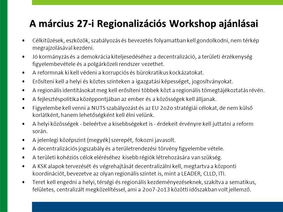 A március 27-i Regionalizációs Workshop ajánlásai Célkitűzések, eszközök, szabályozás és bevezetés folyamatban kell gondolkodni, nem térkép megrajzolá