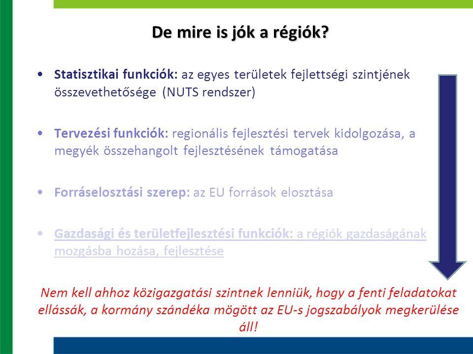 De mire is jók a régiók? Statisztikai funkciók: az egyes területek fejlettségi szintjének összevethetősége (NUTS rendszer) Tervezési funkciók: regioná