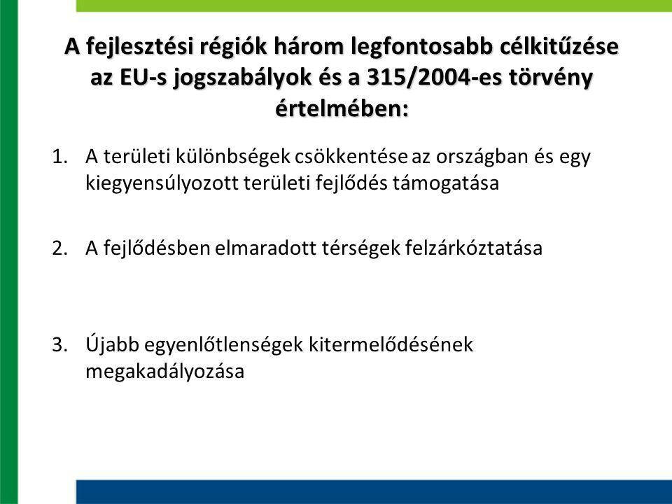 A fejlesztési régiók három legfontosabb célkitűzése az EU-s jogszabályok és a 315/2004-es törvény értelmében: 1.A területi különbségek csökkentése az országban és egy kiegyensúlyozott területi fejlődés támogatása 2.A fejlődésben elmaradott térségek felzárkóztatása 3.Újabb egyenlőtlenségek kitermelődésének megakadályozása