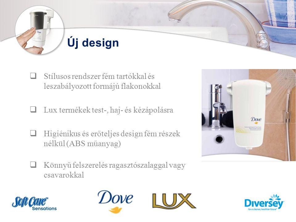 Új design  Stílusos rendszer fém tartókkal és leszabályozott formájú flakonokkal  Lux termékek test-, haj- és kézápolásra  Higiénikus és erőteljes design fém részek nélkül (ABS műanyag)  Könnyű felszerelés ragasztószalaggal vagy csavarokkal
