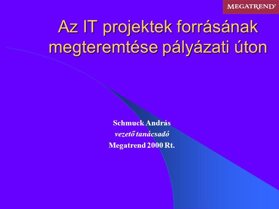 Hazai és eu-s forrás lehetőségek Hazai források: Széchenyi Vállalkozásfejlesztési Program SMART Hungary Európa Technológiai Hitelprogram IHM pályázatok OM, IKTA FMM Regionális Ügynökségek