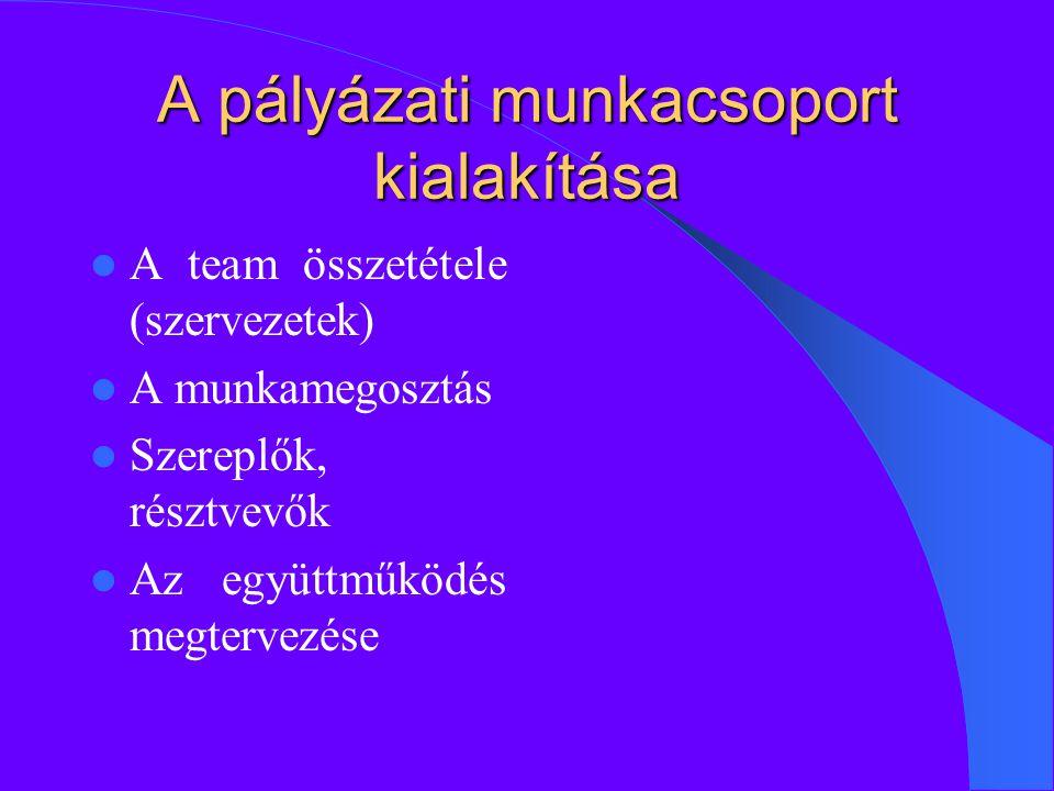 A pályázati munkacsoport kialakítása A team összetétele (szervezetek) A munkamegosztás Szereplők, résztvevők Az együttműködés megtervezése