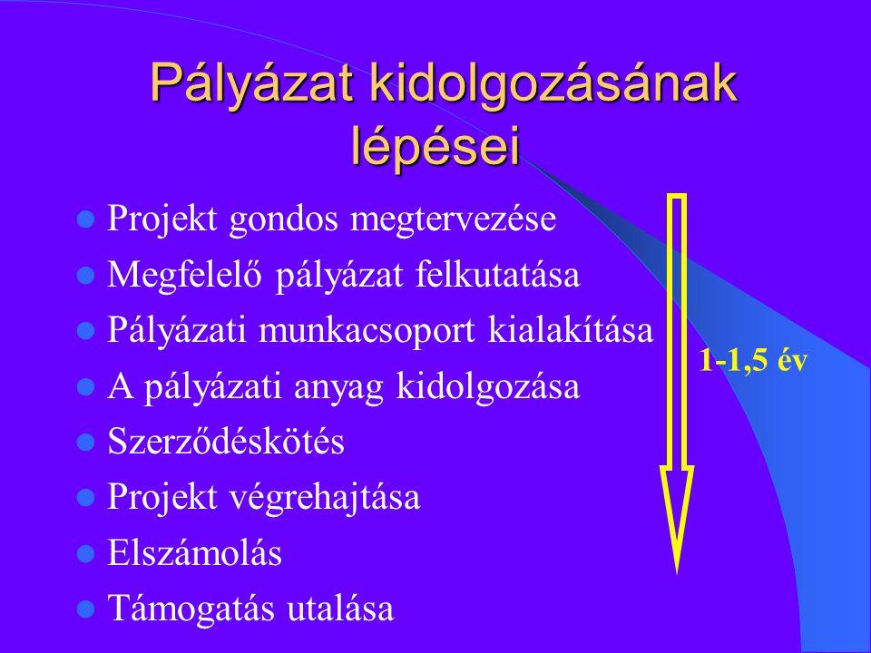 Pályázat kidolgozásának lépései Pályázat kidolgozásának lépései Projekt gondos megtervezése Megfelelő pályázat felkutatása Pályázati munkacsoport kialakítása A pályázati anyag kidolgozása Szerződéskötés Projekt végrehajtása Elszámolás Támogatás utalása 1-1,5 év
