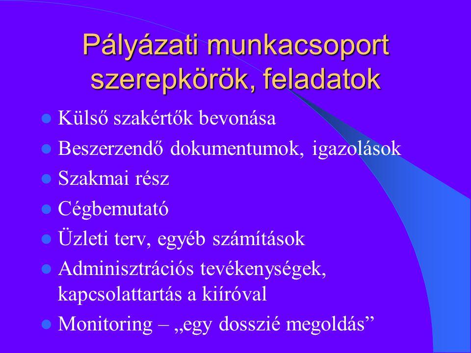 """Pályázati munkacsoport szerepkörök, feladatok Külső szakértők bevonása Beszerzendő dokumentumok, igazolások Szakmai rész Cégbemutató Üzleti terv, egyéb számítások Adminisztrációs tevékenységek, kapcsolattartás a kiíróval Monitoring – """"egy dosszié megoldás"""