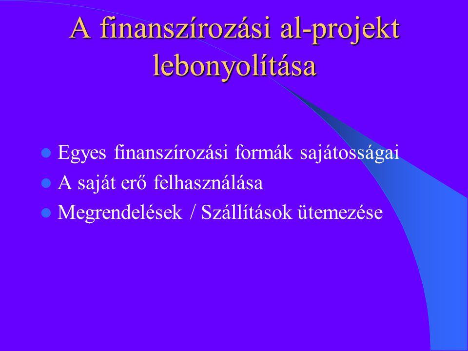 A finanszírozási al-projekt lebonyolítása Egyes finanszírozási formák sajátosságai A saját erő felhasználása Megrendelések / Szállítások ütemezése