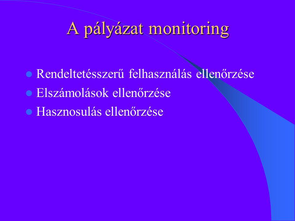 A pályázat monitoring Rendeltetésszerű felhasználás ellenőrzése Elszámolások ellenőrzése Hasznosulás ellenőrzése