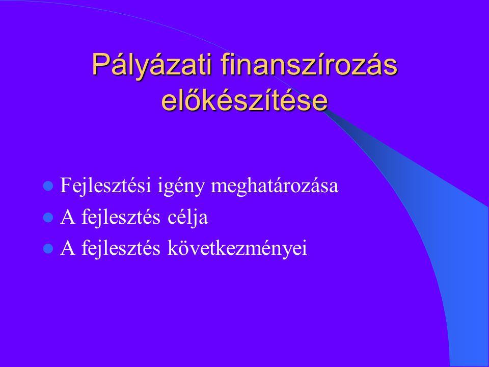Pályázati finanszírozás előkészítése Fejlesztési igény meghatározása A fejlesztés célja A fejlesztés következményei