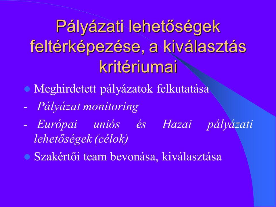 Pályázati lehetőségek feltérképezése, a kiválasztás kritériumai Meghirdetett pályázatok felkutatása - Pályázat monitoring - Európai uniós és Hazai pályázati lehetőségek (célok) Szakértői team bevonása, kiválasztása