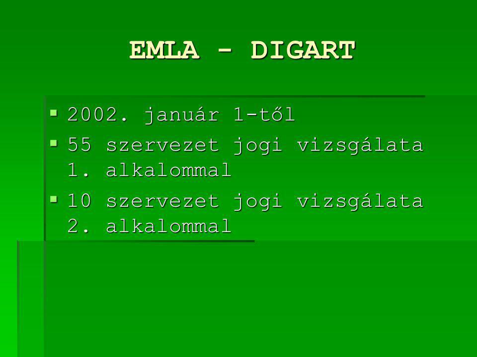 EMLA - DIGART  2002. január 1-től  55 szervezet jogi vizsgálata 1. alkalommal  10 szervezet jogi vizsgálata 2. alkalommal