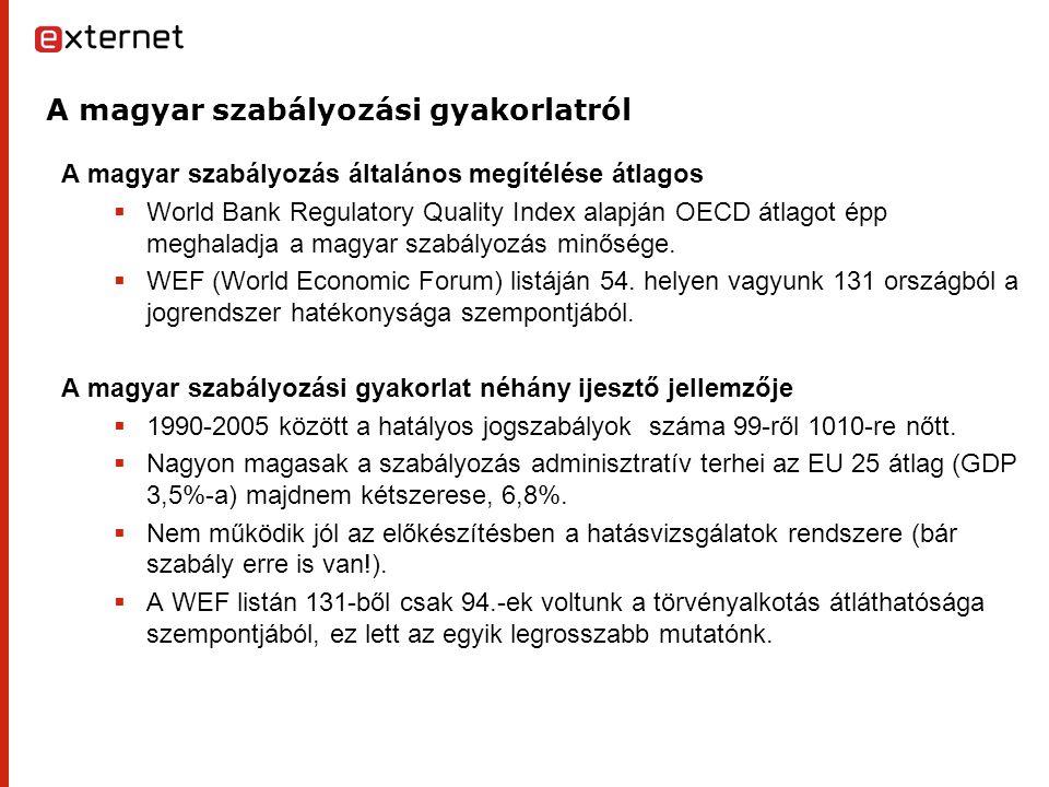 A magyar szabályozási gyakorlatról A magyar szabályozás általános megítélése átlagos  World Bank Regulatory Quality Index alapján OECD átlagot épp meghaladja a magyar szabályozás minősége.