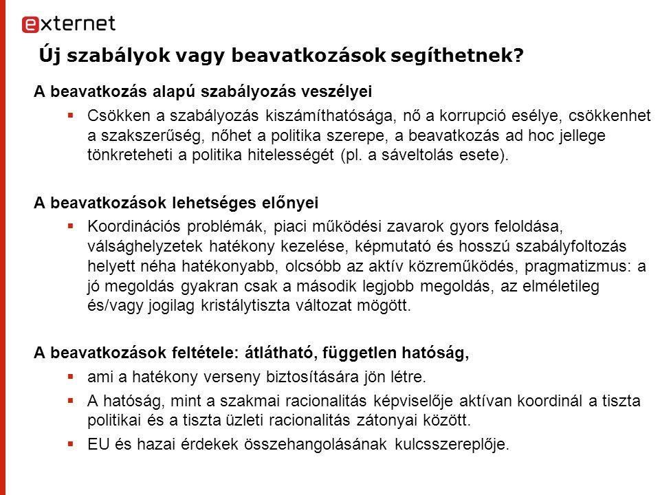 """A magyar szabályozási gyakorlatról Kovács András György írása segít megérteni a szabályozó hatóságok szerepét, """" a közgazdasági fogalmakra épülő absztrakt jogi normák jelentőségét a jogelvekkel szemben A kvázi jogalkotást ex ante jogalkalmazással, az egyedi hatósági aktusok normatív jellegét, a magatartás szabályozás következményeit(végrehajtás, piacfelügyeleti jogkör,széles mértékű beavatkozás a polgári jogviszonyokba A közösségi szabályozást Jó lenne tudni, hogyan működne jól a bottom up szabályozási program (""""Mondjátok meg, hogy mit akartok? ), Hogyan fogja meg vagy engedje el a versenyszabályozás során a hátrányos helyzetű szereplő kezét a hatóság."""
