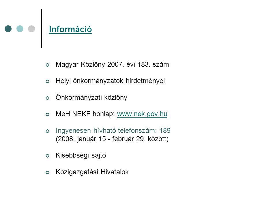 Információ Magyar Közlöny 2007. évi 183.