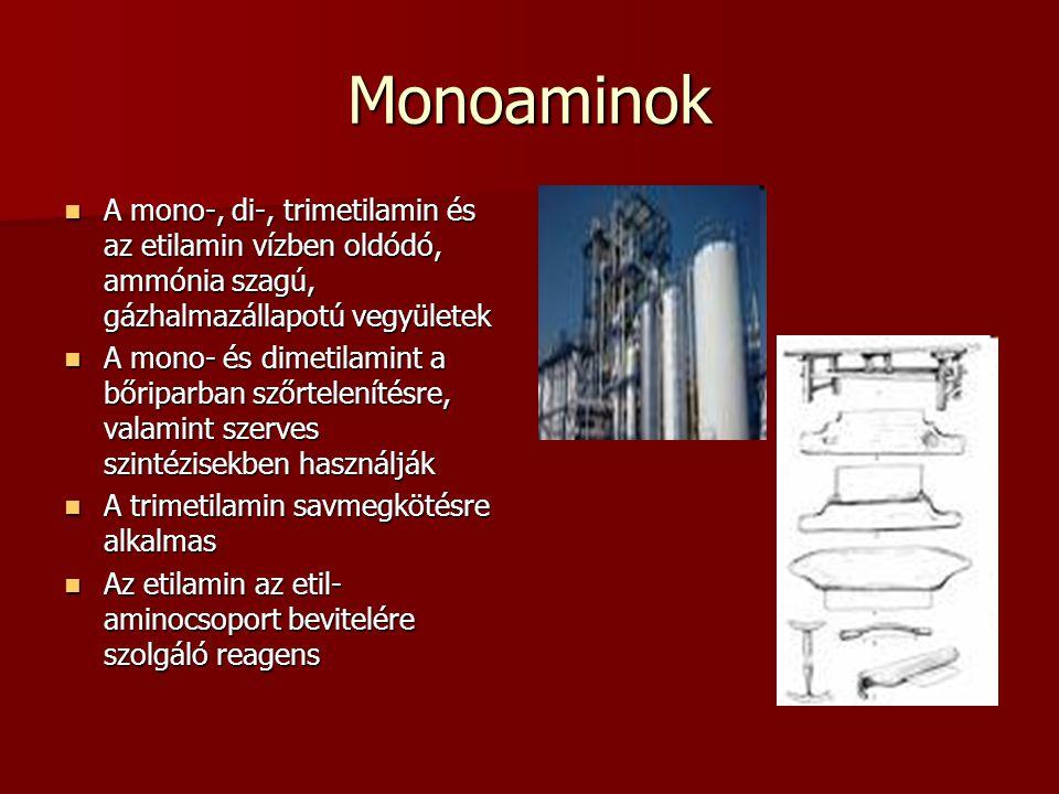 Monoaminok A mono-, di-, trimetilamin és az etilamin vízben oldódó, ammónia szagú, gázhalmazállapotú vegyületek A mono-, di-, trimetilamin és az etilamin vízben oldódó, ammónia szagú, gázhalmazállapotú vegyületek A mono- és dimetilamint a bőriparban szőrtelenítésre, valamint szerves szintézisekben használják A mono- és dimetilamint a bőriparban szőrtelenítésre, valamint szerves szintézisekben használják A trimetilamin savmegkötésre alkalmas A trimetilamin savmegkötésre alkalmas Az etilamin az etil- aminocsoport bevitelére szolgáló reagens Az etilamin az etil- aminocsoport bevitelére szolgáló reagens