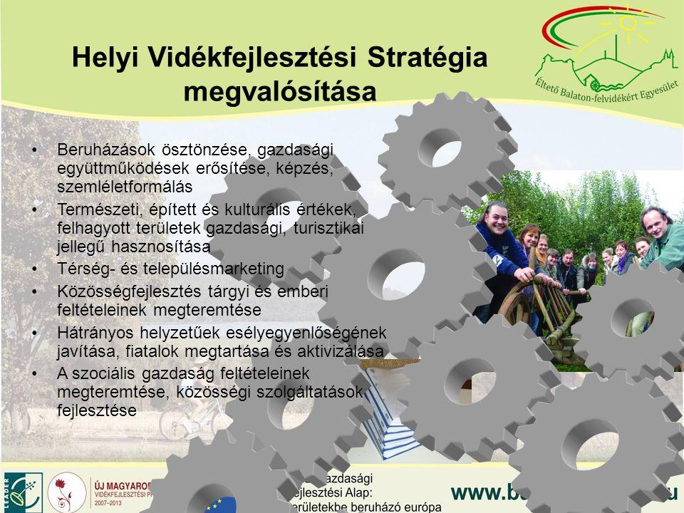 Helyi Vidékfejlesztési Stratégia megvalósítása Beruházások ösztönzése, gazdasági együttműködések erősítése, képzés, szemléletformálás Természeti, épített és kulturális értékek, felhagyott területek gazdasági, turisztikai jellegű hasznosítása Térség- és településmarketing Közösségfejlesztés tárgyi és emberi feltételeinek megteremtése Hátrányos helyzetűek esélyegyenlőségének javítása, fiatalok megtartása és aktivizálása A szociális gazdaság feltételeinek megteremtése, közösségi szolgáltatások fejlesztése