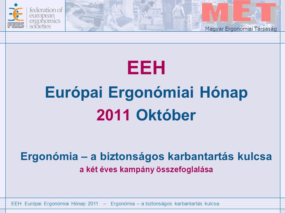EEH Európai Ergonómiai Hónap 2011 – Ergonómia – a biztonságos karbantartás kulcsa Magyar Ergonómiai Társaság Mi az EEH .