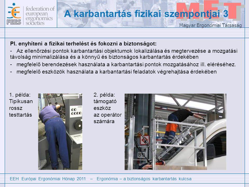 EEH Európai Ergonómiai Hónap 2011 – Ergonómia – a biztonságos karbantartás kulcsa Magyar Ergonómiai Társaság A karbantartás fizikai szempontjai 3 Pl.