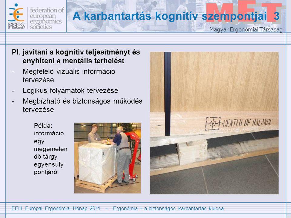 EEH Európai Ergonómiai Hónap 2011 – Ergonómia – a biztonságos karbantartás kulcsa Magyar Ergonómiai Társaság Pl.