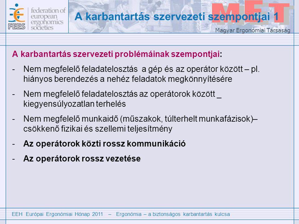 EEH Európai Ergonómiai Hónap 2011 – Ergonómia – a biztonságos karbantartás kulcsa Magyar Ergonómiai Társaság A karbantartás szervezeti szempontjai 1 A karbantartás szervezeti problémáinak szempontjai: -Nem megfelelő feladatelosztás a gép és az operátor között – pl.