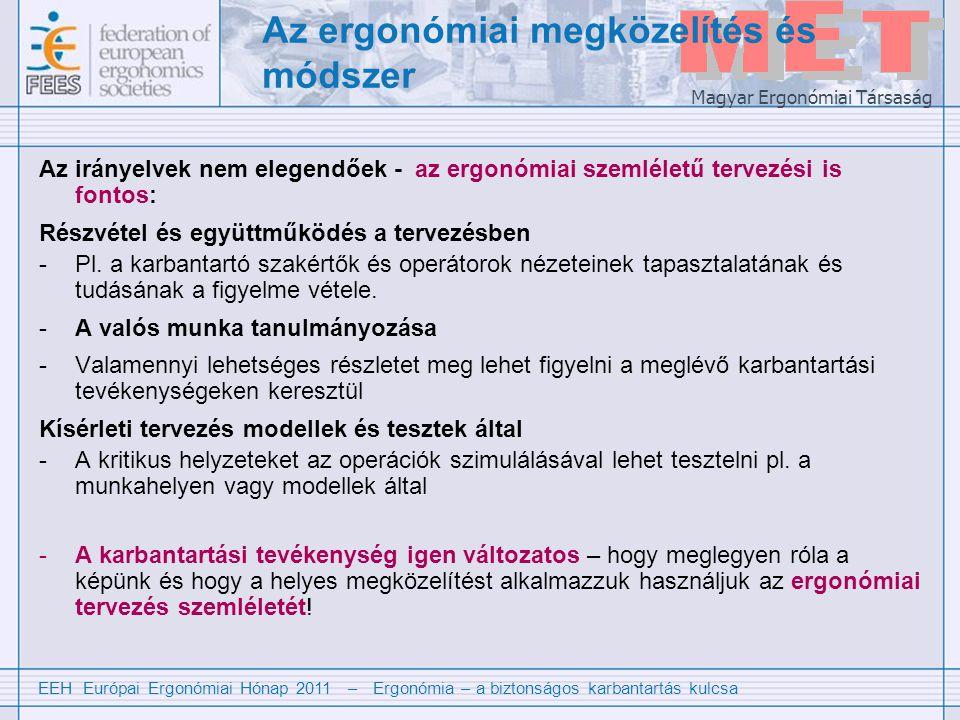 EEH Európai Ergonómiai Hónap 2011 – Ergonómia – a biztonságos karbantartás kulcsa Magyar Ergonómiai Társaság Az ergonómiai megközelítés és módszer Az irányelvek nem elegendőek - az ergonómiai szemléletű tervezési is fontos: Részvétel és együttműködés a tervezésben -Pl.