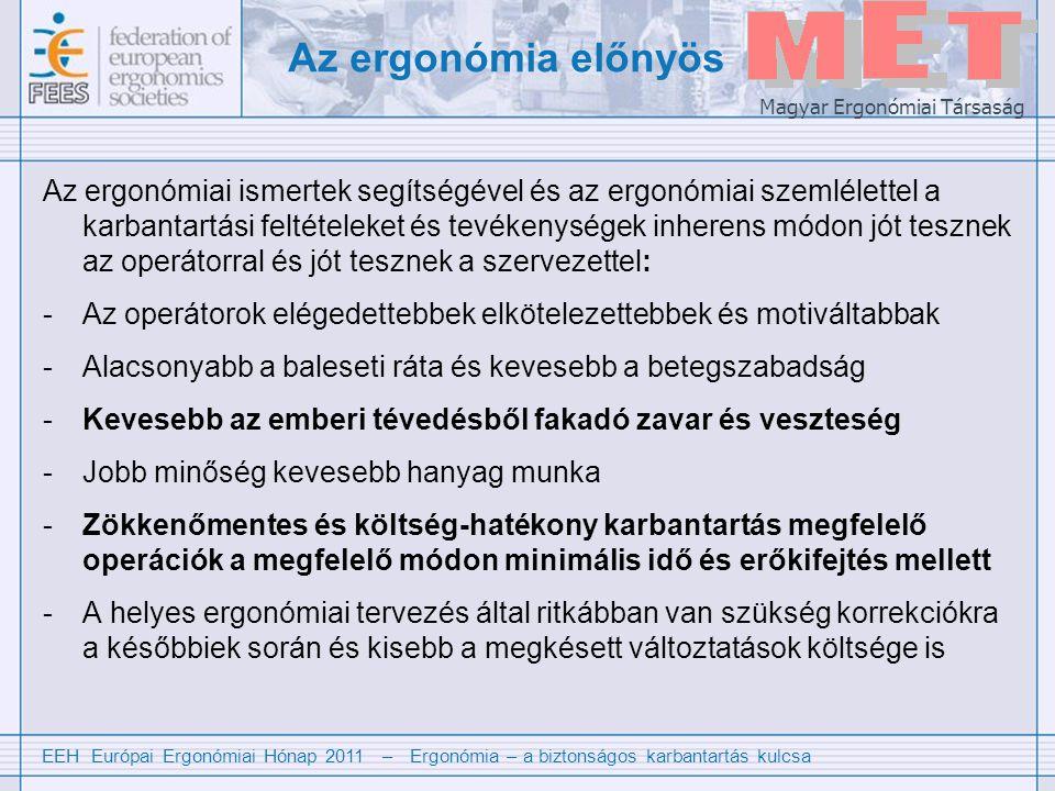 EEH Európai Ergonómiai Hónap 2011 – Ergonómia – a biztonságos karbantartás kulcsa Magyar Ergonómiai Társaság Az ergonómia előnyös Az ergonómiai ismertek segítségével és az ergonómiai szemlélettel a karbantartási feltételeket és tevékenységek inherens módon jót tesznek az operátorral és jót tesznek a szervezettel: -Az operátorok elégedettebbek elkötelezettebbek és motiváltabbak -Alacsonyabb a baleseti ráta és kevesebb a betegszabadság -Kevesebb az emberi tévedésből fakadó zavar és veszteség -Jobb minőség kevesebb hanyag munka -Zökkenőmentes és költség-hatékony karbantartás megfelelő operációk a megfelelő módon minimális idő és erőkifejtés mellett -A helyes ergonómiai tervezés által ritkábban van szükség korrekciókra a későbbiek során és kisebb a megkésett változtatások költsége is