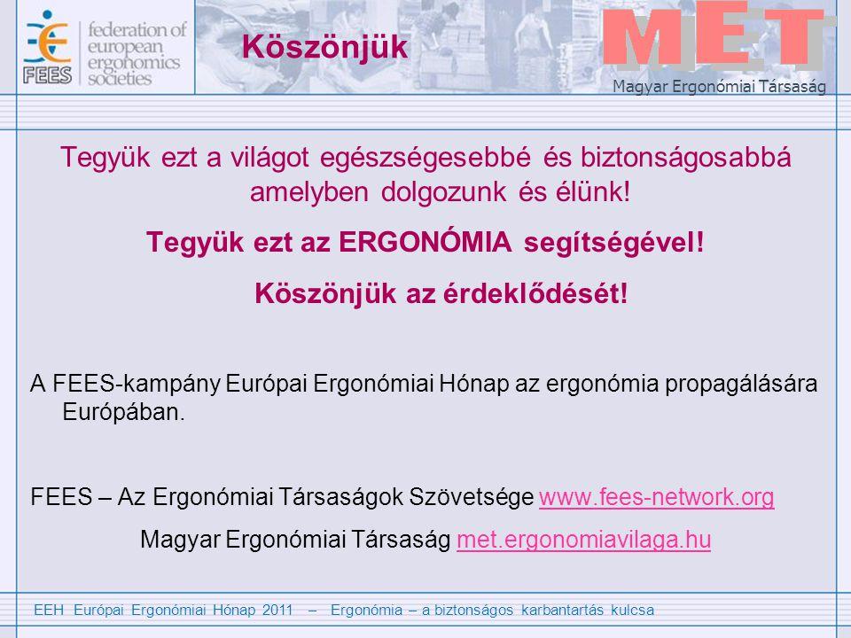 EEH Európai Ergonómiai Hónap 2011 – Ergonómia – a biztonságos karbantartás kulcsa Magyar Ergonómiai Társaság Köszönjük Tegyük ezt a világot egészségesebbé és biztonságosabbá amelyben dolgozunk és élünk.