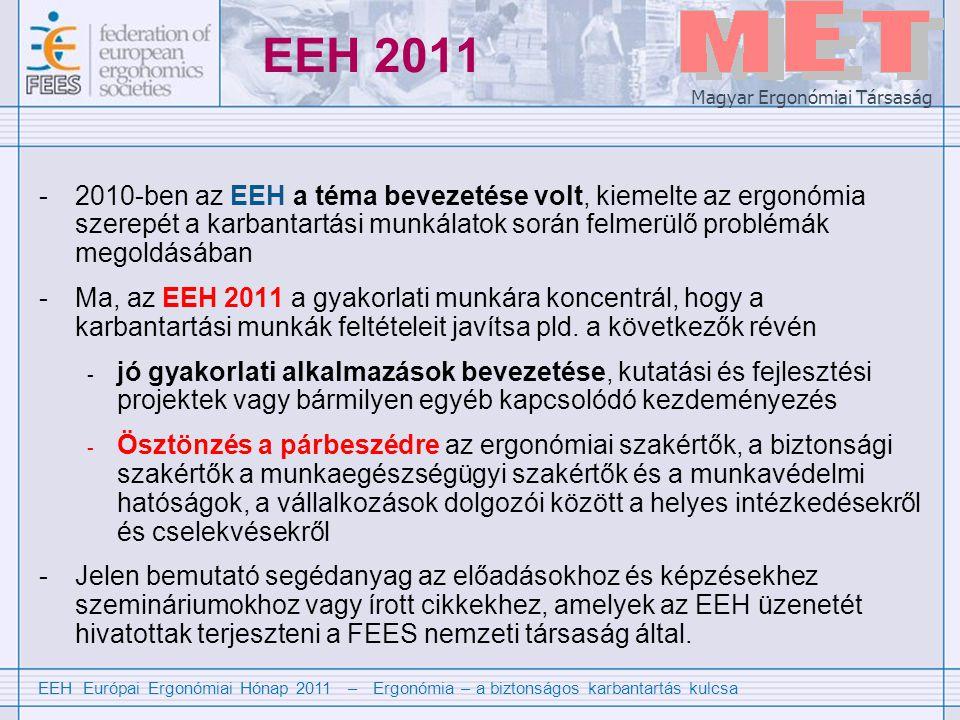 EEH Európai Ergonómiai Hónap 2011 – Ergonómia – a biztonságos karbantartás kulcsa Magyar Ergonómiai Társaság EEH 2011 -2010-ben az EEH a téma bevezetése volt, kiemelte az ergonómia szerepét a karbantartási munkálatok során felmerülő problémák megoldásában -Ma, az EEH 2011 a gyakorlati munkára koncentrál, hogy a karbantartási munkák feltételeit javítsa pld.