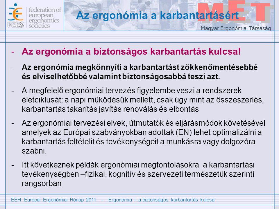 EEH Európai Ergonómiai Hónap 2011 – Ergonómia – a biztonságos karbantartás kulcsa Magyar Ergonómiai Társaság Physical aspects of maintenance 1 Fizikai problémák a karbantartási munkában: -Előnytelen helyszíneken történő munkavégzés (pl.