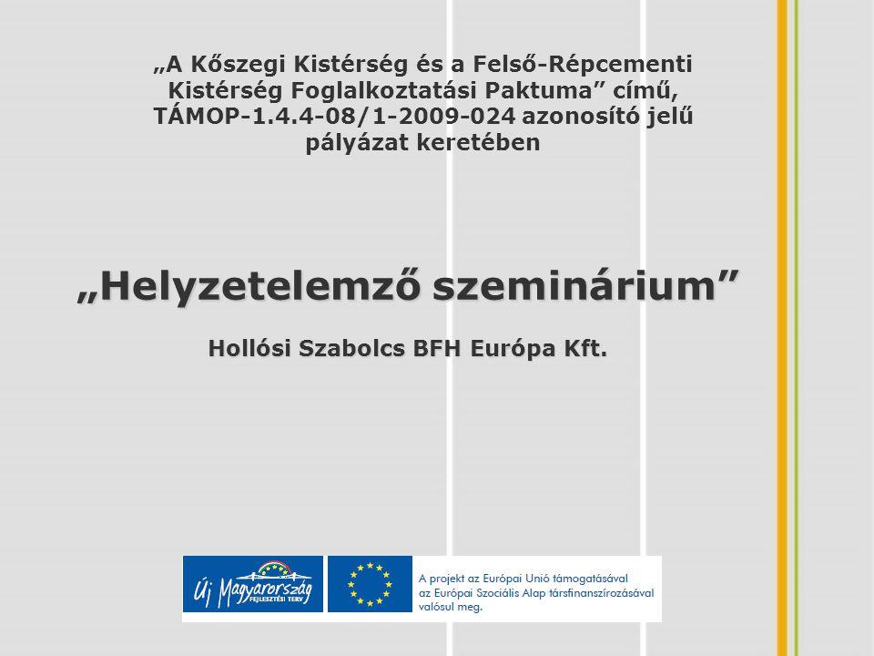 Beszámoló a helyzetelemzés állásáról Tevékenységek: -KSH adatok elemzése (lezárult) -Fókuszcsoportos interjú (02.18) -Munkaügyi statisztikák elemzése (folyamatban) -Meglévő programok, stratégiák, koncepciók elemzése (folyamatban) -Folyamatban lévő ÚMFT-s projektek áttekintése (folyamatban) -Helyzetelemző szeminárium (03.18) -Társadalmi egyeztetés és helyzetelemzés zárása (04.01-30)