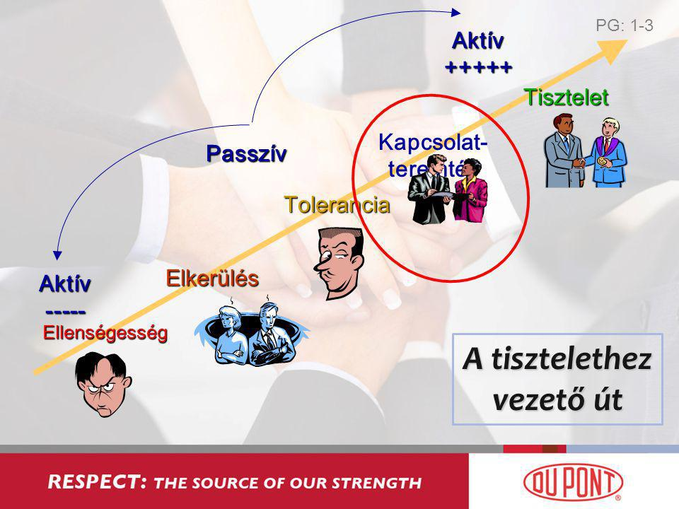 Ellenségesség Aktív ----- Aktív +++++ Passzív Elkerülés Tisztelet Tolerancia Kapcsolat- teremtés A tisztelethez vezető út PG: 1-3