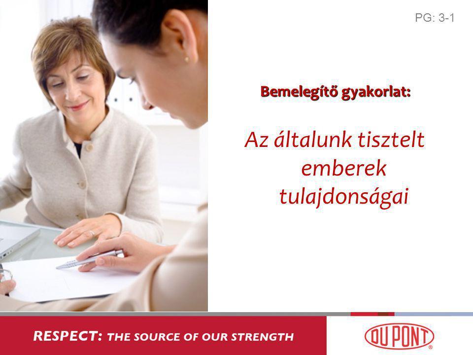 Bemelegítő gyakorlat: Az általunk tisztelt emberek tulajdonságai PG: 3-1