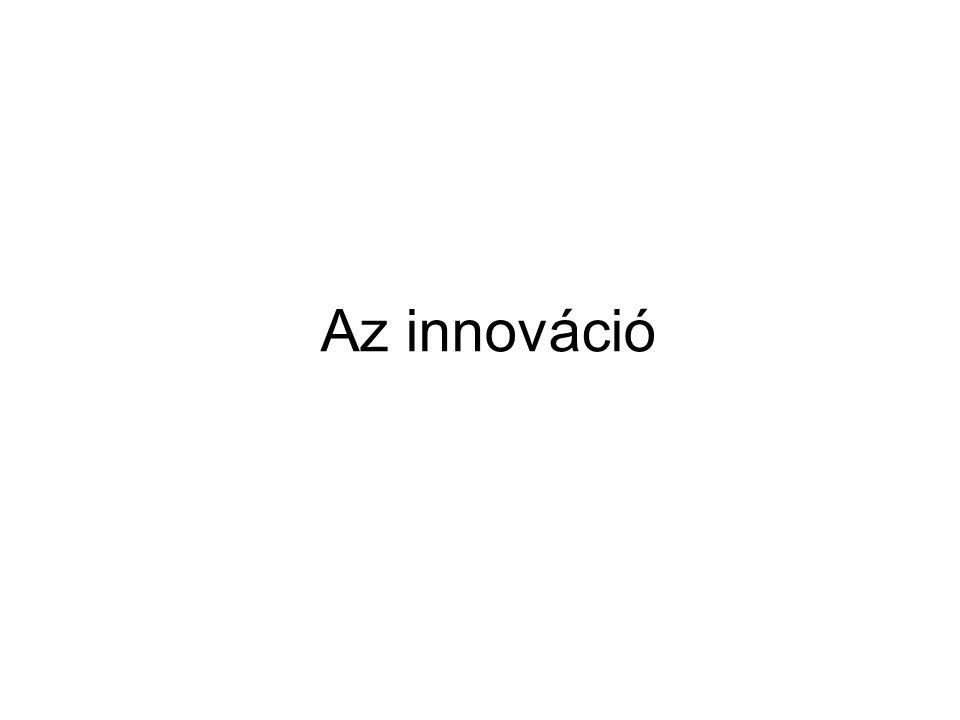 Az innováció folyamata 1.Felismerés 2.Koncepcióalkotás 3.Problémamegoldás 4.Megoldás 5.Fejlesztés 6.Felhasználás