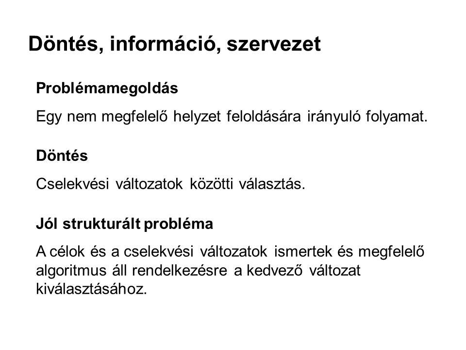 Döntés, információ, szervezet Problémamegoldás Egy nem megfelelő helyzet feloldására irányuló folyamat.