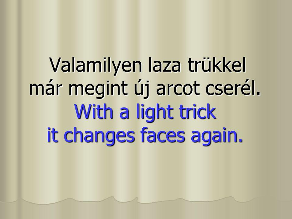 Valamilyen laza trükkel már megint új arcot cserél. With a light trick it changes faces again. Valamilyen laza trükkel már megint új arcot cserél. Wit
