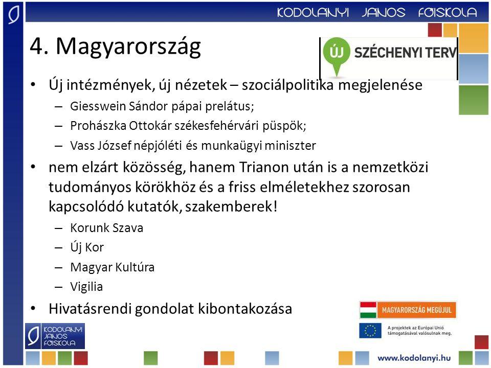 4. Magyarország Új intézmények, új nézetek – szociálpolitika megjelenése – Giesswein Sándor pápai prelátus; – Prohászka Ottokár székesfehérvári püspök