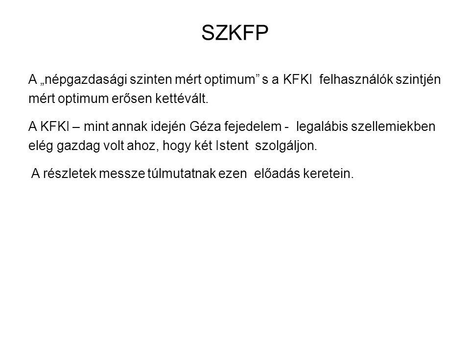 """SZKFP A """"népgazdasági szinten mért optimum s a KFKI felhasználók szintjén mért optimum erősen kettévált."""