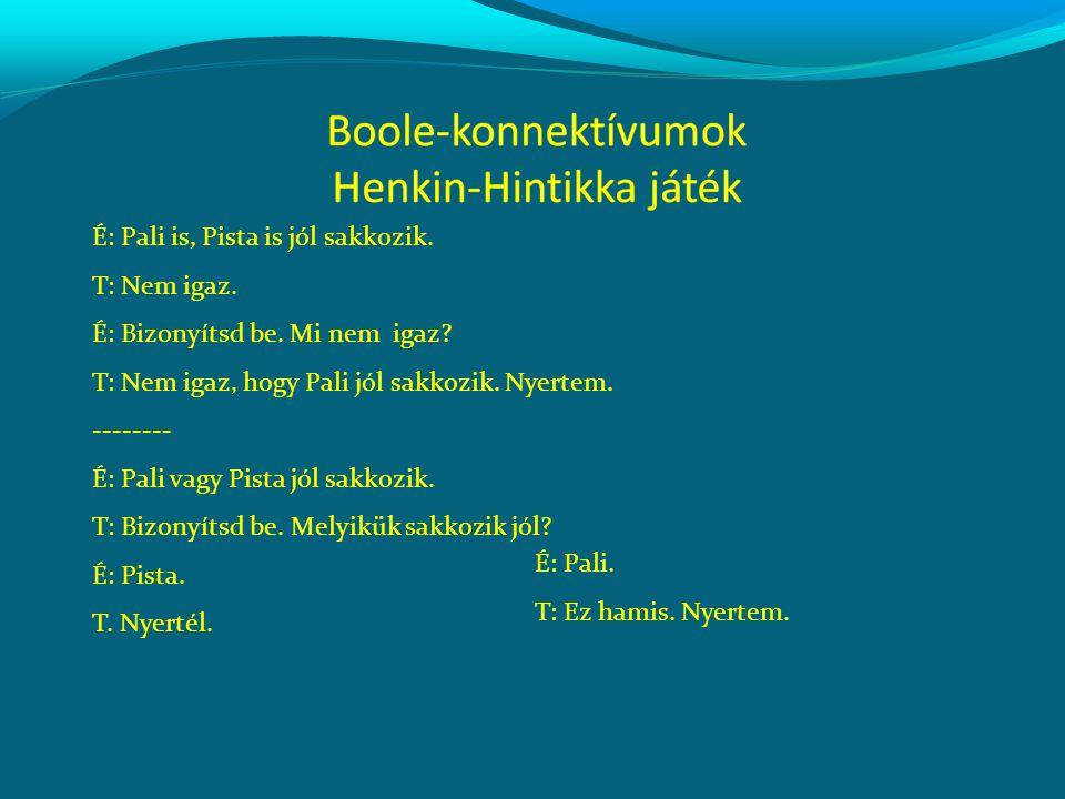 Boole-konnektívumok a köznyelvben: 'és', 'vagy', 'Nem igaz, hogy' és logikai szinonímáik.