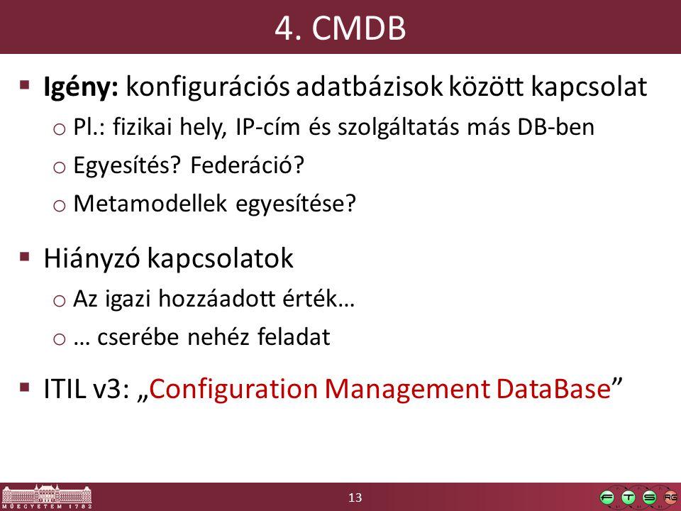 13 4. CMDB  Igény: konfigurációs adatbázisok között kapcsolat o Pl.: fizikai hely, IP-cím és szolgáltatás más DB-ben o Egyesítés? Federáció? o Metamo