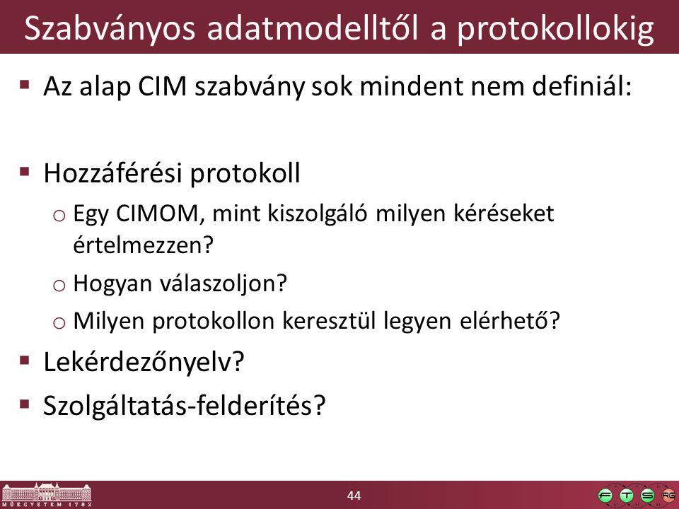 44 Szabványos adatmodelltől a protokollokig  Az alap CIM szabvány sok mindent nem definiál:  Hozzáférési protokoll o Egy CIMOM, mint kiszolgáló milyen kéréseket értelmezzen.