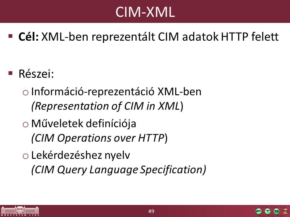 49 CIM-XML  Cél: XML-ben reprezentált CIM adatok HTTP felett  Részei: o Információ-reprezentáció XML-ben (Representation of CIM in XML) o Műveletek
