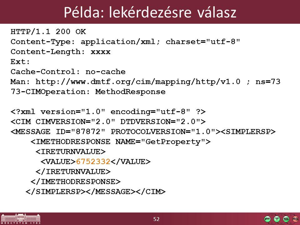 52 Példa: lekérdezésre válasz HTTP/1.1 200 OK Content-Type: application/xml; charset= utf-8 Content-Length: xxxx Ext: Cache-Control: no-cache Man: http://www.dmtf.org/cim/mapping/http/v1.0 ; ns=73 73-CIMOperation: MethodResponse 6752332