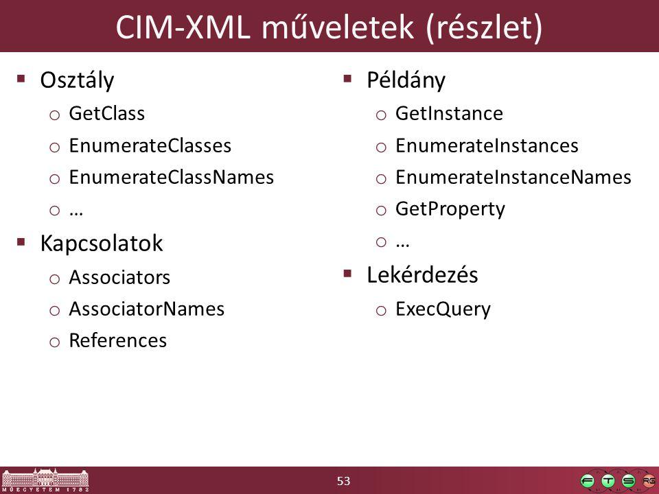 53 CIM-XML műveletek (részlet)  Osztály o GetClass o EnumerateClasses o EnumerateClassNames o …  Kapcsolatok o Associators o AssociatorNames o References  Példány o GetInstance o EnumerateInstances o EnumerateInstanceNames o GetProperty o …  Lekérdezés o ExecQuery