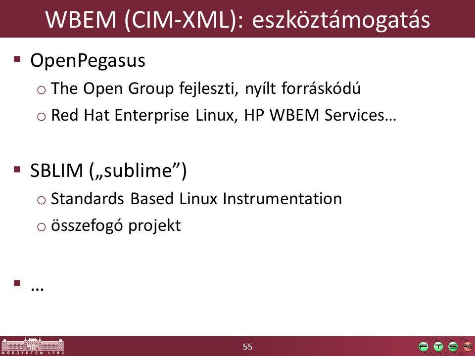 """55 WBEM (CIM-XML): eszköztámogatás  OpenPegasus o The Open Group fejleszti, nyílt forráskódú o Red Hat Enterprise Linux, HP WBEM Services…  SBLIM (""""sublime ) o Standards Based Linux Instrumentation o összefogó projekt  …"""