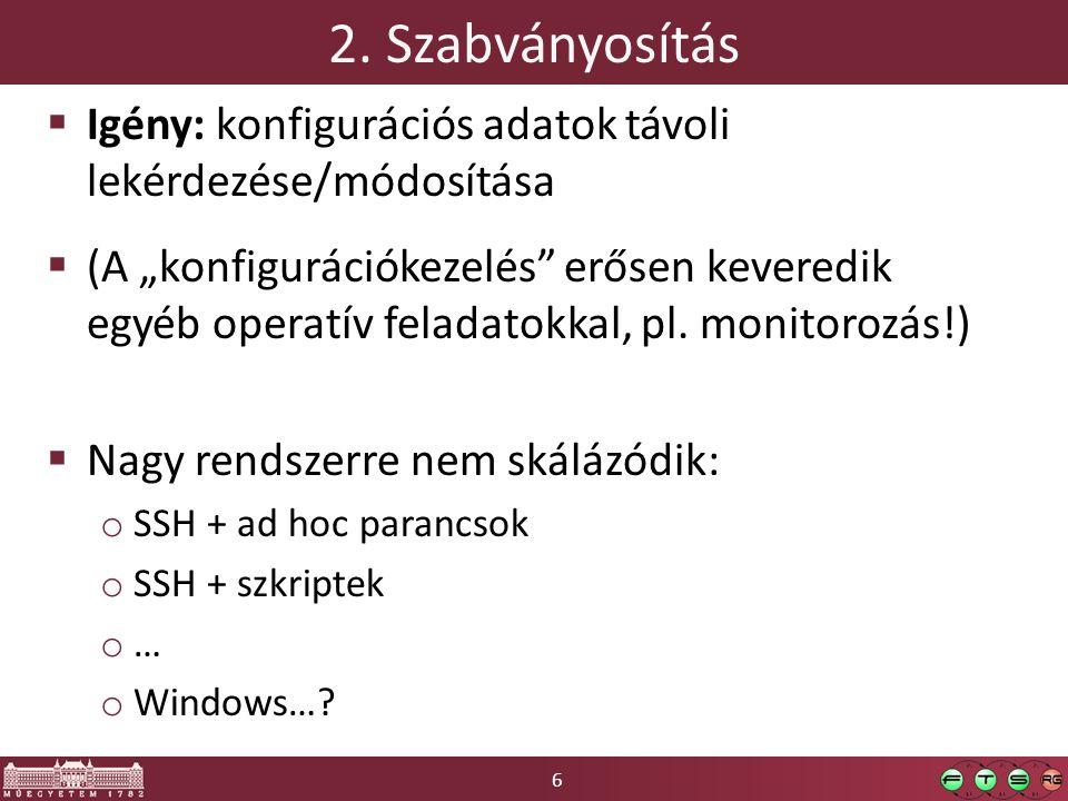 57 wbemcli  Egyszerű parancssori CIM kliens  Szintaxis: o wbemcli objectPath  Műveletek (op) o gc – get class, gi – get instance o ei – enumerate instances o …  ObjectPath: CIM objektum teljes neve o ://[user:pwd@] : / : [.