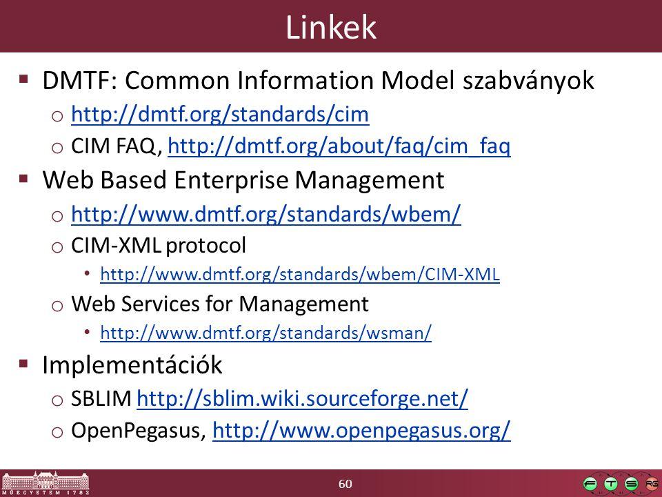 60 Linkek  DMTF: Common Information Model szabványok o http://dmtf.org/standards/cim http://dmtf.org/standards/cim o CIM FAQ, http://dmtf.org/about/f