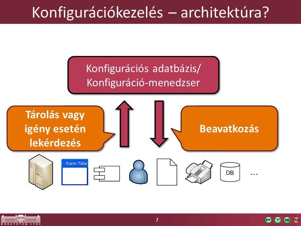 7 Konfigurációkezelés – architektúra? Konfigurációs adatbázis/ Konfiguráció-menedzser Konfigurációs adatbázis/ Konfiguráció-menedzser Tárolás vagy igé